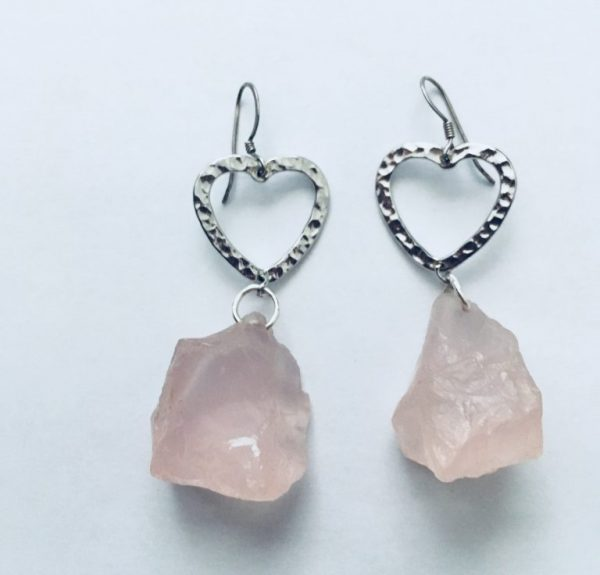 LOve Rose Quartz Crystal earrings