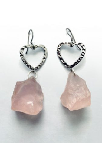 rose_quartz_crystal earrings_infinite